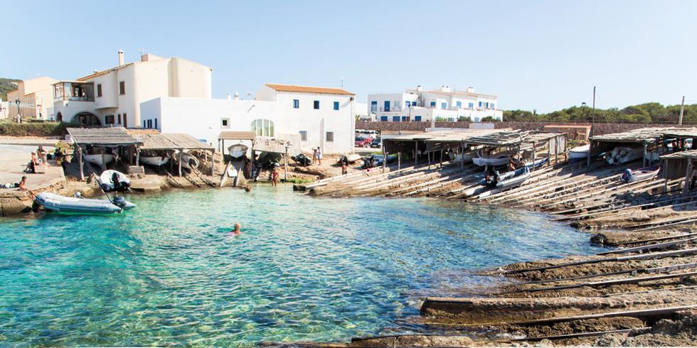Es Calo De San Agusti With Boat In Formentera Stock Photo